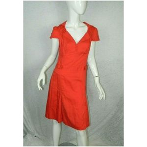 Ted Baker 100% Cotton Cotton Retro Dress Red Sz 4